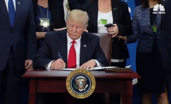 NBC News (1/25/17) covers Donald Trump signing the immigration ban.